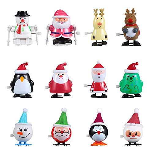 FunsLane Christmas Wind-up Toys, 12pcs Clockwork Santa Claus Snowman Elk Walking Toys, Kids Secret Santa Party Favor Goody Bag Filler