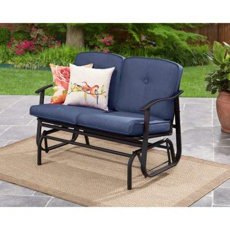 Mainstay Belden Park Outdoor Loveseat Glider with Cushion, Blue