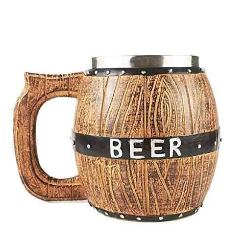 KKAAMYND Barriles de Madera de Acero Inoxidable Tazas de Cerveza Barriles de Cerveza de Gran Capacidad Tazas de Cerveza Suministros de Barra Personalizados Color de Madera Capacidad: 580 ML. S