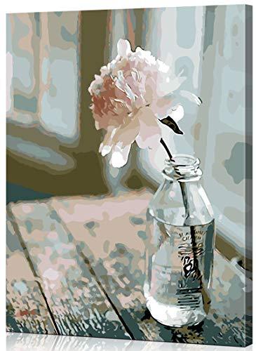 WONZOM [con Marco de Madera DIY Pintura al óleo Pintura por Números Kit para Adultos Niños - Flor en la Botella 16 * 20 Pulgadas