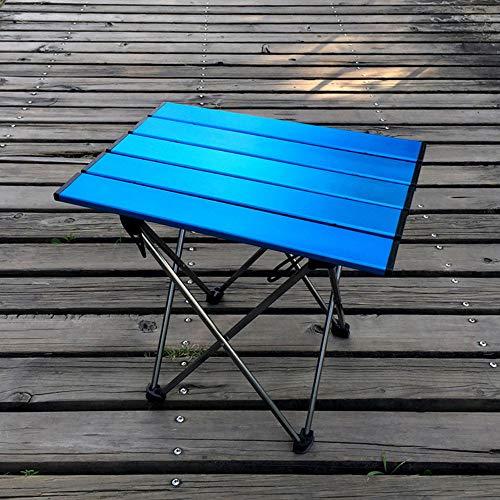 KKDWJ Mesa de Camping portátil, Mesa Plegable Ligera con la Tabla Superior de Aluminio y Lleva el Bolso, para cocinar al Aire Libre de la Comida campestre Senderismo y la Pesca,Azul