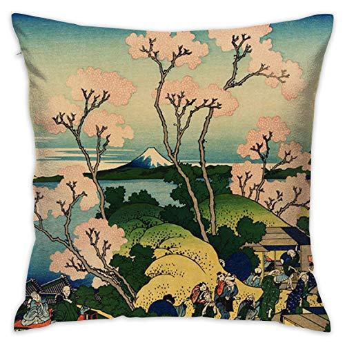 TERPASTRY carré décoratif Housses de Coussin Coton Doux extérieur Couvre-lit Taie d'oreiller pour canapé Chambre à Coucher Bureau à Domicile de Voiture One Size Japan Ink Cherry Blossom