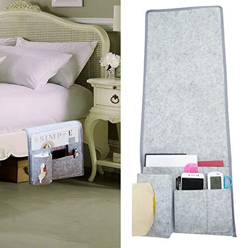 MEIZI Betttasche Bett Tasche Filztasche, Betttasche Zum Einhängen Bett Organizer Bettablage Sofa Organizer Filz Tasche (Hellgrau/Langes Modell)