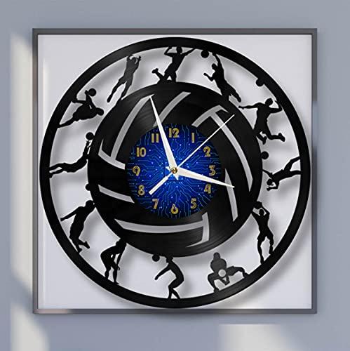 YH Beach Volleyball Silhouette Elements Reloj de pared con disco de vinilo de 12 pulgadas, reloj de pared LED para cocina, hogar, sala de estar, dormitorio, escuela (B), sin LED Reloj de pared de vini