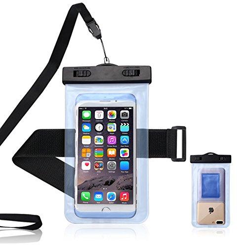Mosoris Universal Wasserdichte Hülle, IPX8 Wasserdichte Handyhülle Transparente Wasserdichte Tasche für iPhone, Samsung, Huawei, Wiko, Sony, HTC, LG, etc, Bis zu 6 Zoll - Hellblau