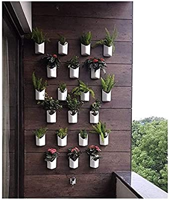 Blume Prism Shape White Indoor and Outdoor Wall Mount planters (Pack of 4) for Home/Garden Decor | Without Plant