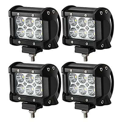 "18W CREE LED Work Light Bar, 4Pcs 4"" Flood Beam 60 degree Waterproof for Off-road Car ATV SUV Jeep Boat"