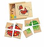 ROMPECABEZAS MINI puzzle Para hacer el juego 4 ANIMALES rompecabezas de madera Juguetes de madera de madera , color/modelo surtido