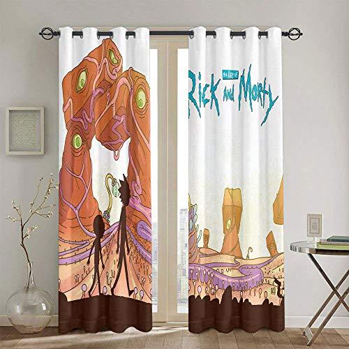 Cortinas de eficiencia energética Rick and Morty para habitaciones de niños, cortinas opacas con ojales, 106,7 x 137,1 cm