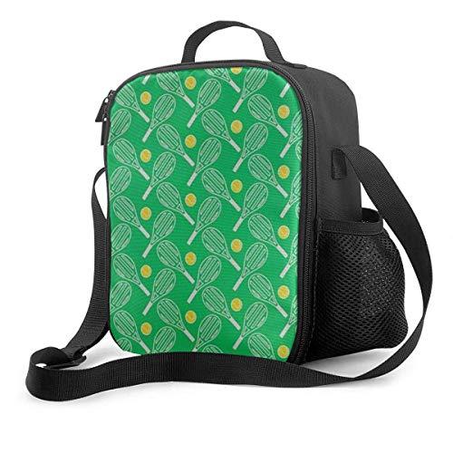 Fiambrera de alta calidad, raquetas de tenis verdes aisladas para hombres y mujeres, adultos, oficina, trabajo, picnic, senderismo, playa, lonchera, impresión 3D