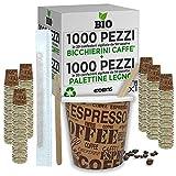 1000 Pz Bicchieri Caffe di Carta Biodegradabili Biocompostabili Tazzine 75ml + 1000 Pz Palettine Legno Betulla