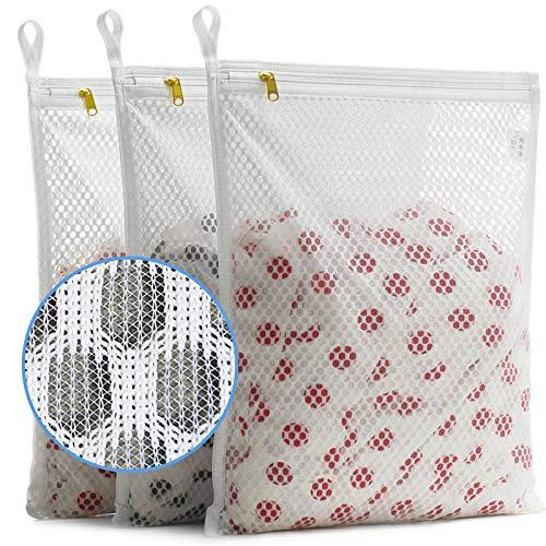 TENRAI Set of 3 Delicates Honeycomb Mesh Laundry Bags with YKK Zipper Hanging Ring Lingerie Hosiery Gloves Socks Bra Mesh Wash Bags3 Medium
