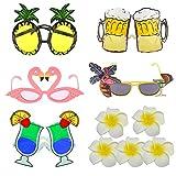 EQLEF Gafa Hawaiana Novedad Gafas de Vestir de Lujo con temática Tropical Fiesta Bolsa Piña Flamingo Gafas de Cerveza con Pinzas de Pelo de Fiesta para decoración y diversión