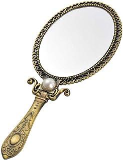 Beaupretty Espelho de Mão Do Vintage Antigo Do Metal Portátil Dobrável Portátil Maquiagem Espelho de Mesa Espelho de Maqui...
