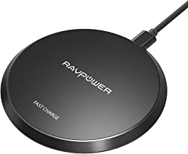 RAVPower Qi Certified Fast Wireless Charger, 5W for iPhone X XR XS Max, 10W for Galaxy S9+ Note 8, Compatible with All Qi-Enabled Phones (No Adapter) (Renewed)