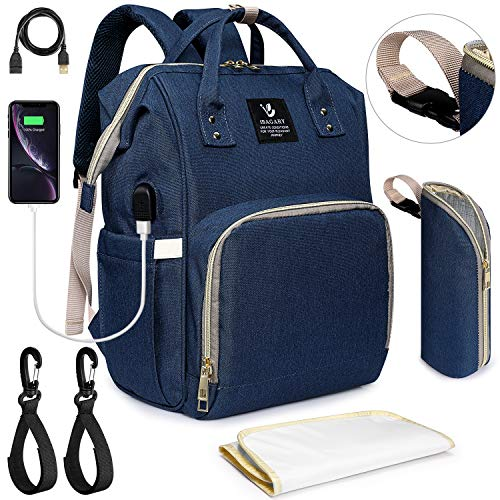 S-ZONE Nappy Changing Bag Backpack Baby Diaper Backpack Nappy Bag with USB Charging Port Stroller Straps Changing Pad Insulated Bottle Pocket Multi-Functional Large Capacity Nappy Changing Bag