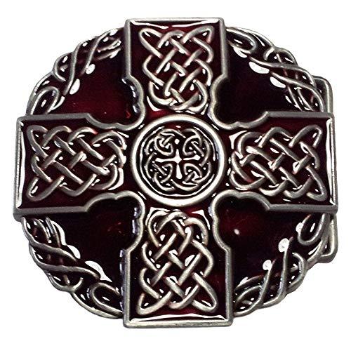 Piratenladen Boucle Croix celtique, croix celtique, rouge, boucle de ceinture