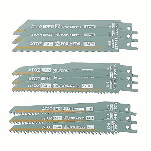6-Inch Reciprocating Saw Blade Set 9-Pcs (6TPI,5/8TPI, 18TPI) / Metal Cutting Reciprocating Saw Blades / Nail-Embedded Wood Cutting Reciprocating Saw Blades / Sawzall Saws / ATOZLIAN-(9-Pack)