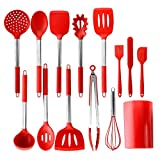 PENGWING 14PCS Red Silicone Kitchen Utensil Set with Holder, Silicone Cooking Utensil Set Heat Resistant Non Stick BPA Free with Stainless Steel Handle Dishwasher Safe