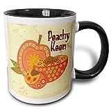 Ornato Vintage stilizzato Peachy Keen Peach Floral Fruit Illustration Two Tone Mug, 11 oz, Black/White