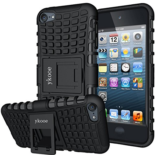 ykooe iPod Touch Hülle für Apple iPod Touch 5/6/ 7 Hülle, (TPU Series) Silikon Stoßfest Touch 6 Schutzhülle Ständer Armor Drop Resistance Schutz Hülle für Apple iPod Touch 5G 6G 7G (Schwarz)