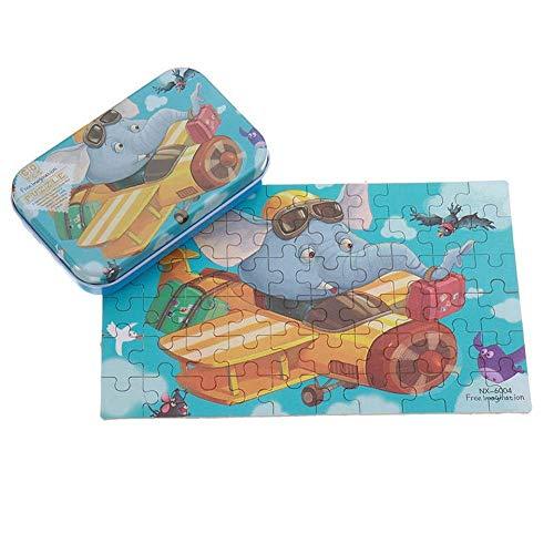 AJH Blokken 60 stks DIY Puzzel Olifant Piloot Vliegtuig Cartoon Jigsaw Met Blikken Doos Kids Kinderen Educatief Cadeau Speelgoed One Size Bouwstenen Set