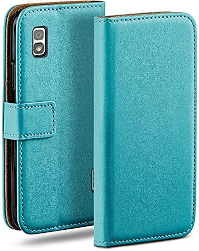 moex Klapphülle kompatibel mit LG Google Nexus 4 Hülle klappbar, Handyhülle mit Kartenfach, 360 Grad Flip Hülle, Vegan Leder Handytasche, Türkis