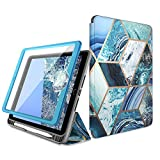 i-Blason Cosmo Case for New iPad 7th Generation, iPad 10.2 2019 Case, Full-Body Trifold with Built-in Screen Protector Protective Smart Cover with Auto Sleep/Wake & Pencil Holder (Blue)