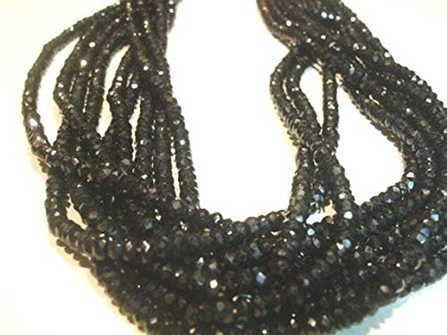 LOVEKUSH 50% Off Gemstone Jewellery 14 Inches Strand. High Luster Black Spine Micro Faceted Roundels - Size 3-3.50mm Code:- RADE-38646