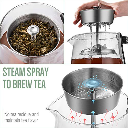 Soulhand Electric Kettle Temperature Control Tea Kettle with Detachable Tea Basket Stainless Steel Electric Water Kettle Spray Steam Brew Tea Auto Shut Off Keep Warm 60mins and Boil–Dry Protection-48oz/1500ml