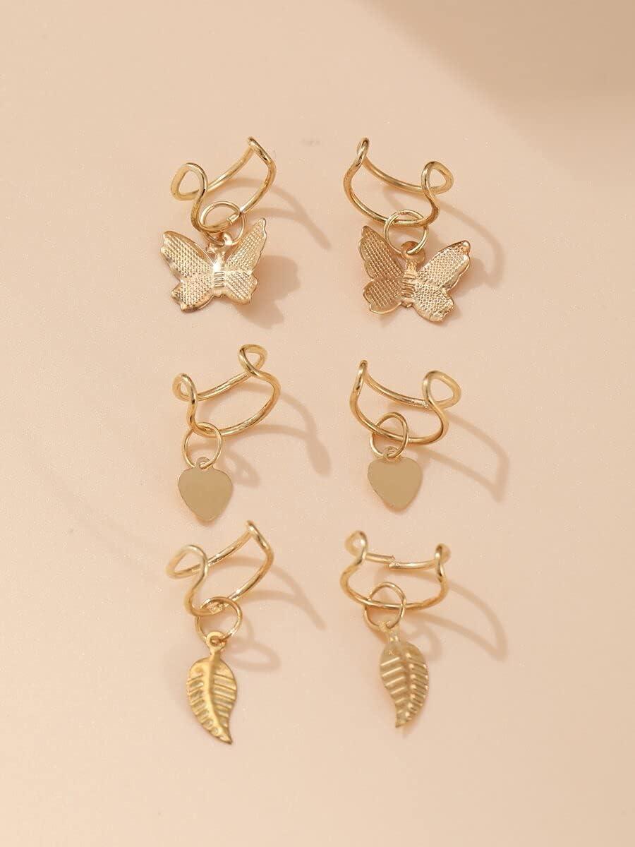 kgjsdf Hoop Earrings 6pcs Butterfly & Heart Charm Ear Cuff (Color : Gold)