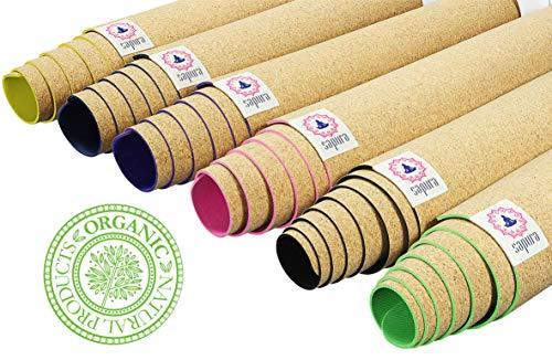 SAPURA Esterilla Yoga Caucho Natural  Estera de Corcho  Deslizamiento de garantía  Agarre ecológicamente  Antideslizante  Yoga Mat 3mm