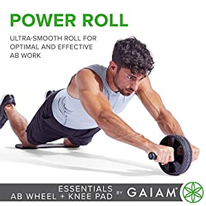 Gaiam Essentials Ab Roller Wheel + Knee Pad, Abs Exercise Equipment Trainer with Comfort Grip Handles & Large Non Skid Wheel, Black