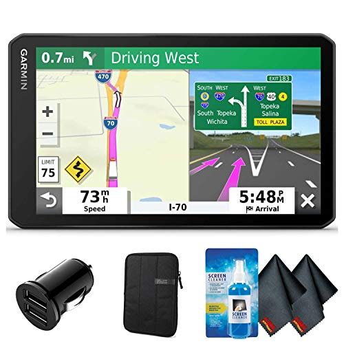 Garmin dezl OTR700 GPS Truck Navigator (7' Screen) with 2-Port Car Charger, Protective Sleeve and More