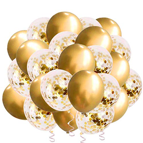 Party Supplies Gold Balloons & Gold Confetti Balloons for Weddings Birthday Party Decoration,Bridal & Baby Showers Christmas Thanksgiving Decorations (12in&60pcs)