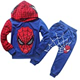 EnzoCreative New Boys Spiderman Sports Suit 2 Pieces Tracksuits 100-140cm Jacket and Pants Blue