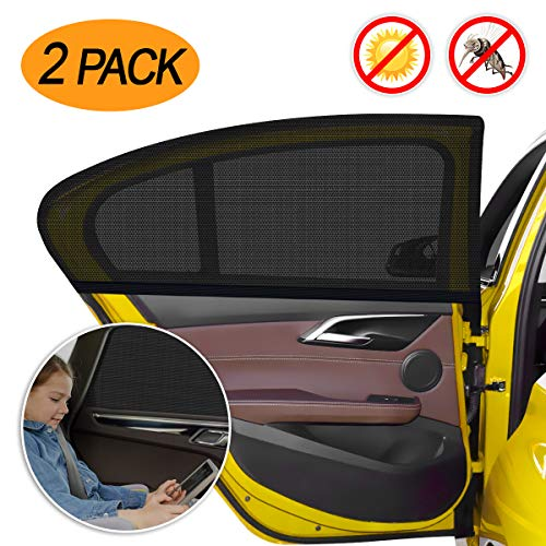 Pack of 2 Grey Rear Side Window Sun Shade with Suction Cups and One Hand Roll Up Function Hauck Shade Me 2 Car Window Shades