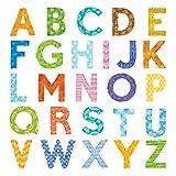 DECOWALL DAT-1708A Letra del alfabeto mayúscula Vinilo Pegatinas Decorativas Adhesiva Pared Dormitorio Saln Guardera Habitaci Infantiles Nios Bebs
