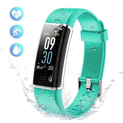 KALINCO Aktivitätstracker Fitness Armband mit Pulsmesser 0,96 Zoll Farbbildschirm Fitness Tracker Pulsuhren Schrittzähler Schlafmonitor für Damen Herren 14 Trainingsmodi (Grün1)