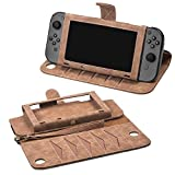 DDONG Carrying Leather Cover Case for Nintendo Switch, Portable Travel Carrying Bag Ultra Slim,Wallet Storage Hand Bag Game Card Slot Pocket, Play Stand Protect Case Tempered Glass (Only Brown Case)