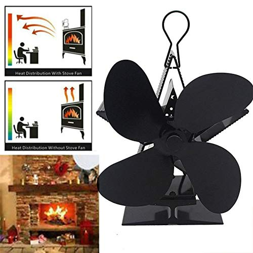 JYYA 4 Blade Black Heat Powered Herd Fan Log Holzbrenner Eco-Fan Quiet Black Home Kamin Fan Effiziente Wärmeverteilung