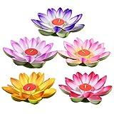 UKCOCO - Velas flotantes de flor de loto, farolillo para piscina, estanque, jardín, boda, fiesta, decoración, 5 unidades