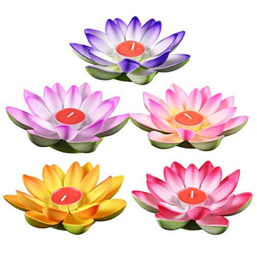 UKCOCO Schwimmkerzen Lotus Kerzen Wasserlaterne Künstliche Lotusblüte Seerose Schwimmlaterne Laterne für Pool Teich Garten Hochzeit Party Dekoration Mischfarbe 5 Stück