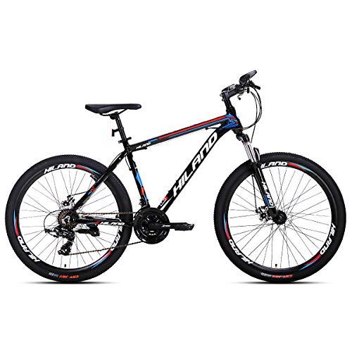 Hiland Bicicleta de montaña de aluminio, 26 pulgadas, 24 velocidades, con freno de disco Shimano, marco de 16,5, color negro