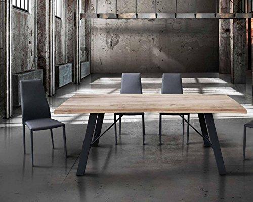 Table avec plateau en bois massif de 6 cm d'épaisseur et pied en metal; dimensions cm 160x90 fixe.
