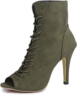 Women's Lace Up Open Toe High Heels Ankle Boots Peep Toe Stiletto Sandals