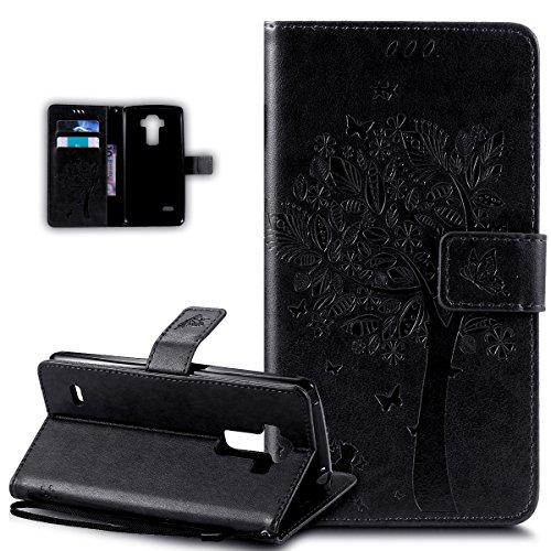 Kompatibel mit LG G Stylo Hülle,LG G4 Stylus Hülle,Prägung Katze Schmetterlings Blumen PU Lederhülle Flip Hülle Handyhülle Ständer Tasche Wallet Schutzhülle für LG G Stylo LS770/LG G4 Stylus,Schwarz