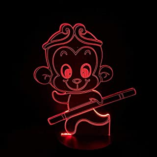 giyiohok The Journey to The West Decoration Q Version Monkey Led Night Light King Sun Wu Kong Golden Cudgell Boy 3D Lamp O...