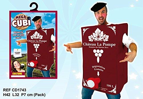 Les Colis Noirs LCN – Disfraz de Cubi de vino para adulto – Talla única – Disfraz de fiesta – 038