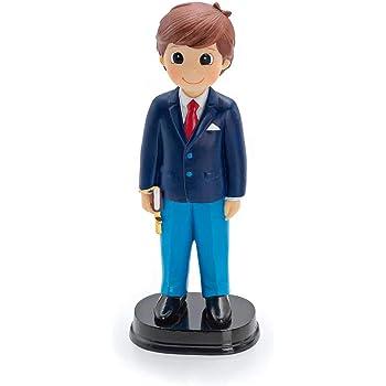 Figura para tarta de Comunión Almirante, niño con traje azul y galones. Recuerdo de pastel de Primera Comunión chico.: Amazon.es: Hogar
